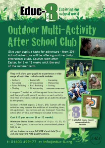Educ-8 Outdoor Multi-Activity After School Club - Give your pupils a taste for adventure – from 2011 Activ-8 Adventure will be offering multi-activity afterschool clubs. Courses start after Easter, for 6 or 12 weeks until the end of the summer term.
